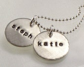 Hand Stamped Mother's Charm Necklace - Two Children's Names on Sterling Silver Discs - Sisters -  For Her - Christmas for Mommy - For Mom