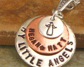 """Mother's Necklace with an Angel - """"Mommy's Little Angels"""" Hand Stamped  Multi-Metal Pendant with Children's or Kids Names -  Jewelry for Mom"""