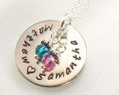 Personalized Mother's Necklace - Hand Stamped Sterling Silver Disc - Two or Three  Names - Women's Jewelry for Mom - For Valentine's Day