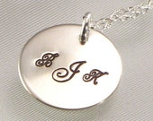 Monogrammed Necklace - Three Initials Hand Stamped on Sterling Silver Disc - Royal Script - Shiny or Brushed Finish