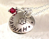 Girl's Necklace with Flower - Personalized One Name - Hand Stamped Hannah on Domed Silver Dics - Jewelry for Girls, Flower Girls, Birthdays