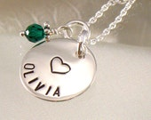Personalized Girl's Necklace with Heart - Hand Stamped Child's Name and Design - Daughter , Teenage Girls - Girlfriend  - Valentine  Gift
