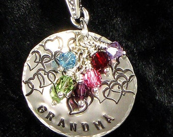 Grandma Necklace -  With Grand Kids Birth Crystal Charms - Hand Stamped with Hearts on Silver Domed Heart Disc - Christmas for Grandmother