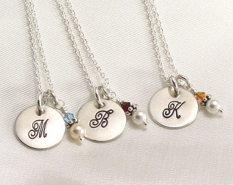 Set of Three Monogrammed Bridesmaides Pearl Necklace Gift Set - Sterling Silver with Initial and a Pearl or Crystal Charm - Wedding Jewelry