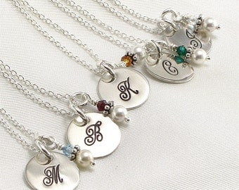 Six Monogrammed Bridesmaids Necklaces - Hand Stamped Bridal Jewelry - 6 Initial Necklaces - Sterling Silver - Wedding Jewelry - Pearl Charm