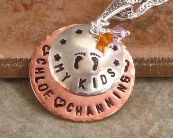 """Personalized Mommy Foot Prints Necklace - """"My Kids""""  -  Hand Stamped with Names and Baby Feet - Sterling Silver and Copper Jewelry for Mom"""