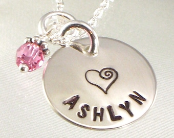 Girl's Necklace with One Name and Swirl Heart Hand Stamped On Sterling Silver Disc - Personalized - Flower Girl - Stocking Stuffer - For Her