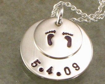 Hand Stamped Footprints Necklace with Special Date and Baby Feet on Two Sterling Silver Layered  Discs - Great for the Expecting Mom