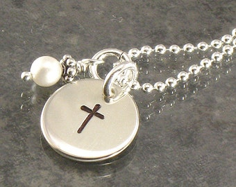 Cross Necklace - Hand Stamped  Small Sterling Silver Pendant with Your Choice of Pearl or Birth Crystal Charm