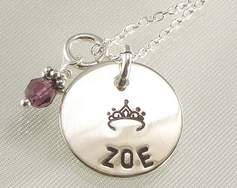 Personalized Girl's Princess Necklace - Hand Stamped with Tiara and  Name on Silver Disc Pendant - Christmas Granddaughter - For Daughter