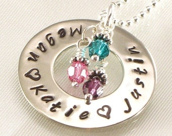 Personalized mothers  necklace - Eternity circle pendant with kids names - hand stamped washer style - women's jewelry - for moms Christmas