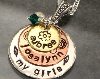 "Hand Stamped Mothers Necklace - ""My Girls"" - Mixed Metal  Three Layered Circle Discs with Kids Names - Copper, Silver, Brass - For Mom"