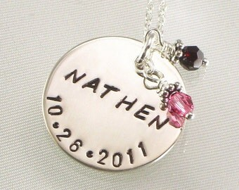 Personalized Charm Necklace - One Name and Date Hand Stamped on Sterling Silver Disc - Birth Crystal or Pearl