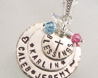 Hand Stamped Mother's Blessings Necklace with Cross  Family Name Pendant  Three Sterling Silver Stacked Disc with Names  Jewelry for Mom
