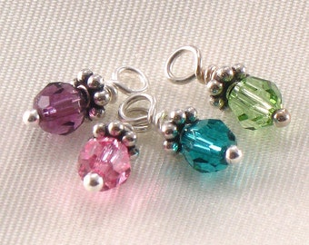 Add a Round Crystal Charm or White Pearl - One Birth Crystal Charm with Sterling Silver Spacer