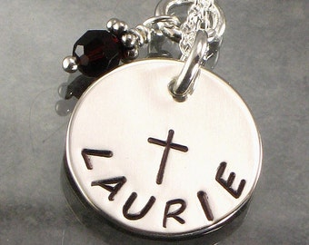 Hand Stamped Cross Necklace - Personalized with One Name  on Sterling Silver Disc - Great for Confirmations and Baptisms