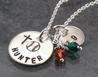 Hand Stamped Softball or Baseball Necklace - Personalized Sports Pendant - Name and Number- Choose  Team Colors