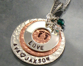 Personalized Mommy Necklace -  Sterling Silver Eternity Circle Hand Stamped with LOVE and Kids Names - Jewelry with Baby Feet on Copper Disc