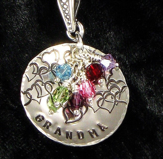 Grandma Necklace - Hand Stamped with Hearts on Sterling Silver Domed Heart Disc and Grandkids Birth Crystal- Mother's Day For Grandmother
