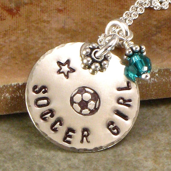 Necklace - Soccer Girl - Hand Stamped  - One Single Disc with Soccer Ball, Basketball, Football, Softball, Volleyball -  Sports Jewelry