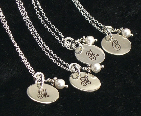 "Set of Four Bridesmaids Monogrammed Pearl Necklace - Personalized 1/2"" Sterling Silver Disc - Choice of Pearl or  Crystal - Summer Weddings"