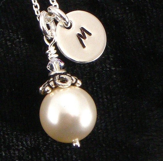 Necklace - 10 mm Pearl with Small monogrammed Sterling Silver Disc - Great Gift for Bridal Parties