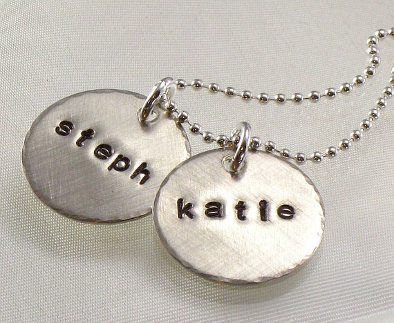 Hand Stamped Mother's Charm Necklace - Two Children's Names on Sterling Silver Discs - Sisters -  For Her - For Mom for Mother's Day Gift