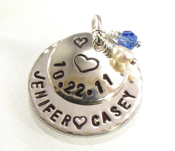 Something Blue Bridal Bouquet Charm for Bride's Flowers - Stamped with Heart  - Date of Wedding -  Bride and Groom Names - Gift for Bride