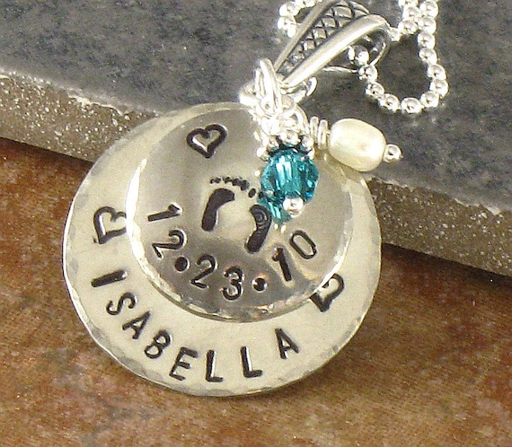 Mother's New Baby Necklace - Personalized New Mom Jewelry and Expectant Mom Baby Feet Pendant - Newborn Baby's Name - Birth Date, Mommy Gift