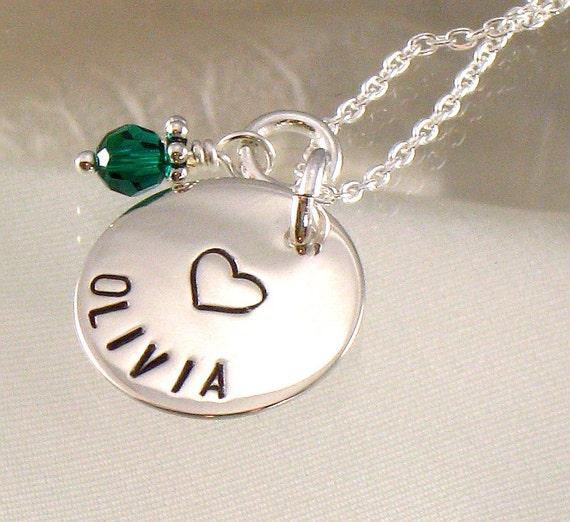 Personalized Girl's Necklace with Heart - One Name -  Hand Stamped Name and Design on Sterling Silver Disc and Birth Crystal - Flower Girl