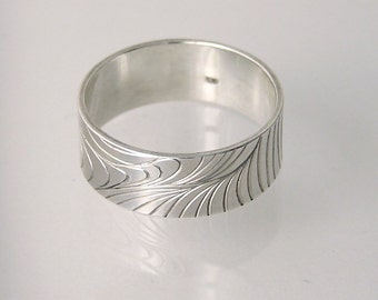 Band Ring Sterling Silver Engraved, Contemporary Designer Jewellery by Anastasia Young