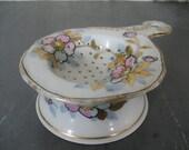 Vintage China Teabag Strainer Dogwoods
