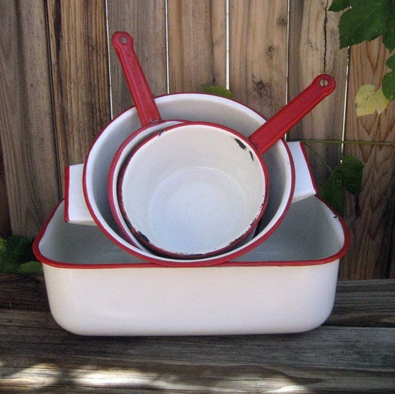 On Sale Vintage Enamel Cookware Red White Lot