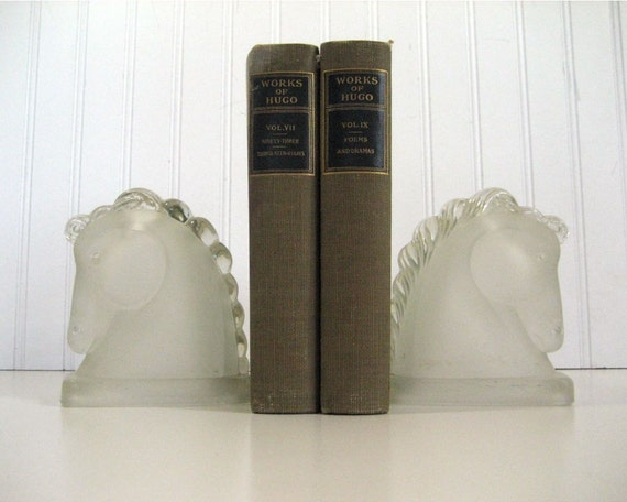 Vintage Horse Head Frosted Glass Bookends
