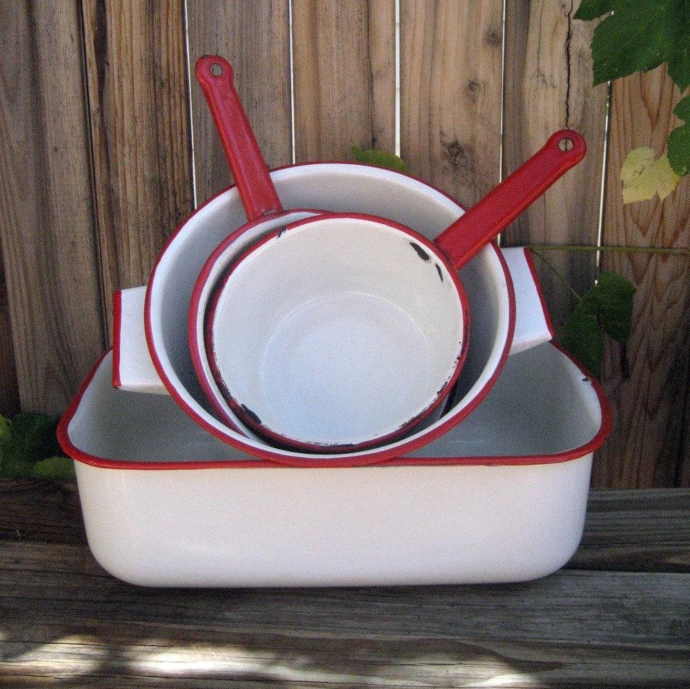 on sale vintage enamel cookware red white lot. Black Bedroom Furniture Sets. Home Design Ideas