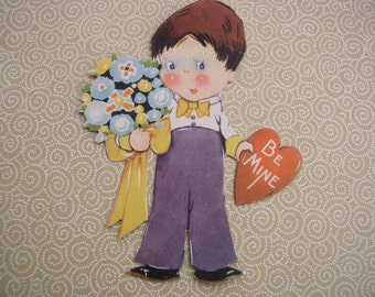 Vintage Valentine 1930-1940 Little Boy with Flowers and Heart