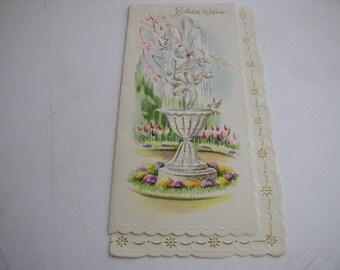 Vintage Birthday Greeting Card-UNUSED-cherub angel water fountain glitter