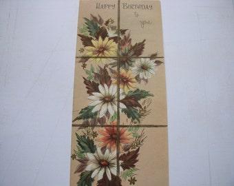 Vintage Birthday Greeting Card-Flowers brown white yellow