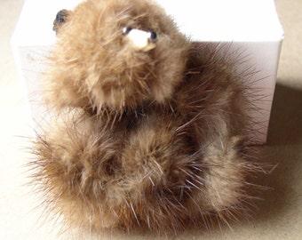 Vintage Mink Fur Poodle Pin 1950 retro- Brown mink