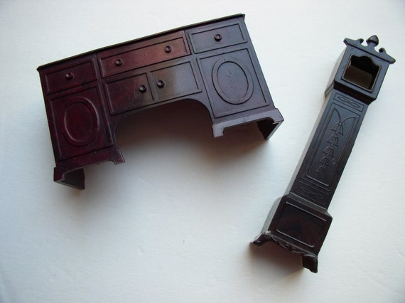 Vintage Dollhouse Furniture-Buffet Grandfather Clock mahogany movable drawer