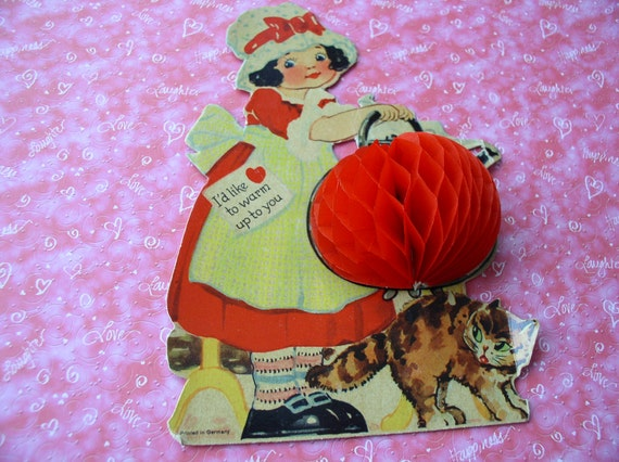 Vintage Valentine card 1920's-  fold out mechanical red crepe accordian girl with teapot cat