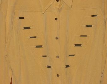 1980s Suede Look Cache Leotard Shirt