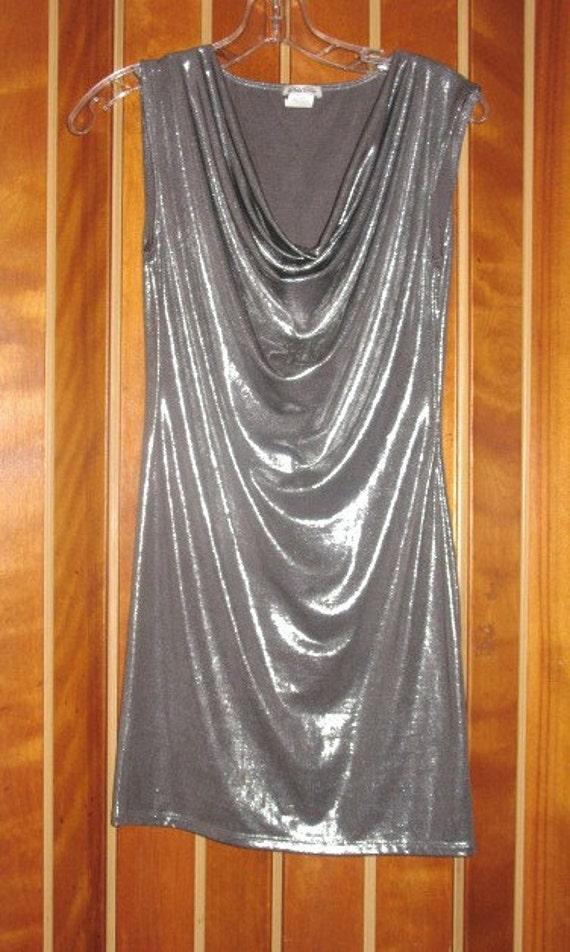 1980s Liquid Silver Draped Collar Mini Dress