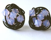 Violet Opal Series- Wire Wrapped Signature Stud Earrings- Black Wire and Violet Opal Swarovski Crystal Stud Earrings