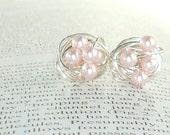 Elegance Collection Rosaline - Wire Wrapped Stud Earrings- Rosaline/Light Pink Swarovski Glass Pearl Stud Earrings