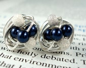 Mix It Up Series- Navy Blue/Star Dust- Swarovski Glass Pearl and Stardust bead Wire Wrapped Stud Earrings