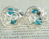 Waterfall Series- Wire Wrapped Stud Earrings- Teal, Silver, and Clear Swarovski Crystal Bead and Silver wire Stud Earrings
