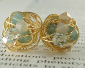 Pacific Sand Series- Signature Wire Wrapped Stud Earrings with tan and light blue swarovski crystal beads