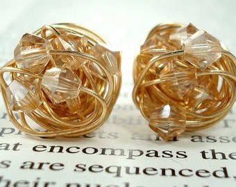 Golden Series- Signature Wire Wrapped Stud Earrings with golden shadow swarovksi crystal beads