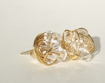 Gold Diamond in the Wire Series- Gold plated wire and Clear Swarovski Crystal wire wrapped Stud Earrings